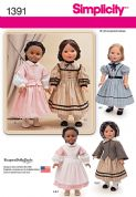 "1391 Simplicity Pattern: American Civil War Doll Costume for 18"" Doll"